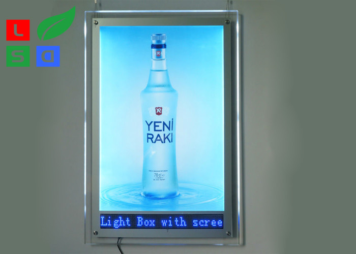Indoor Advertising LED Crystal Light Box A1 A2 Graphic Size With LED Scrolling Text Sign