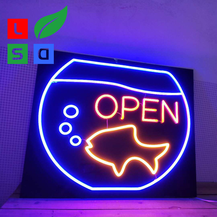 Custom Led Open Neon Light Signs Wall Mounted With Black Square Backing