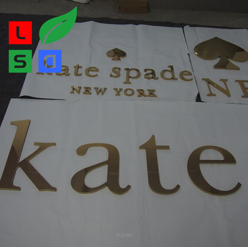 Outdoor Led Letter Sign With Golden Polished Non - Illuminated Letter