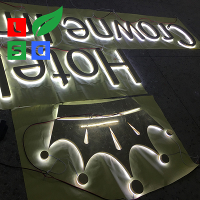 Illuminated Letter Stainless Steel Backlit Sign With Gold Polish